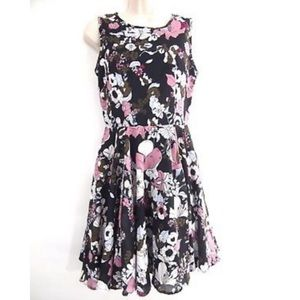 Maison Jules Floral Chiffon Fit N Flare Dress XS